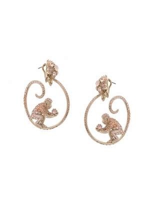 Marchesa gemstone encrusted monkey hoop earrings