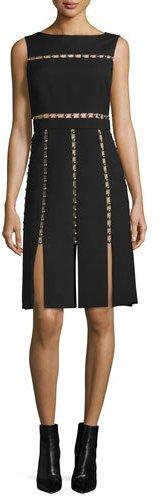 MICHAEL Michael KorsMichael Kors Sleeveless Cutout Dress w/Metallic Beads, Black