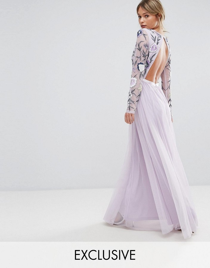 Frock and Frill Embroided Maxi Dress with Tulle Skirt and Open Back