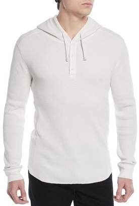 Vince Men's Waffle-Knit Hooded Henley Sweater