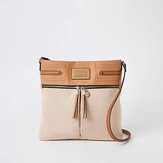 River Island Beige double zip front messenger bag