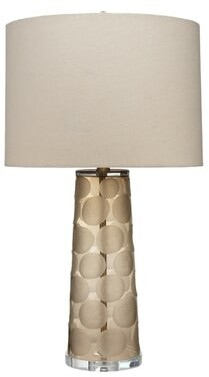 Jamie Young Company Pebble Table Lamp in Taupe Etched Glass with Drum Shade in Stone Linen Company