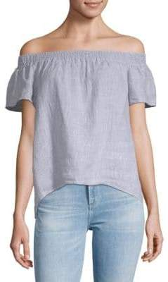 Saks Fifth Avenue Pinstripe Off-The-Shoulder Linen Top