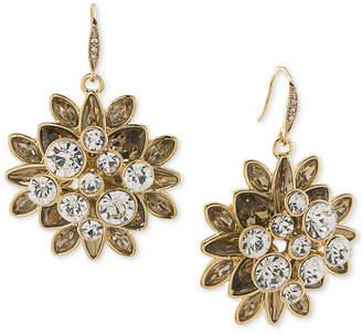 Carolee Gold-Tone Crystal Cluster Drop Earrings