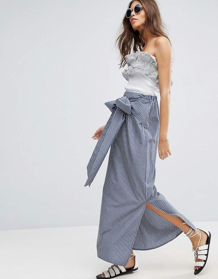 Asos ASOS Maxi Skirt in Stripe with Bow Detail