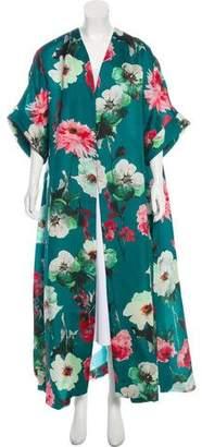 DELPOZO Silk Floral Print Coat