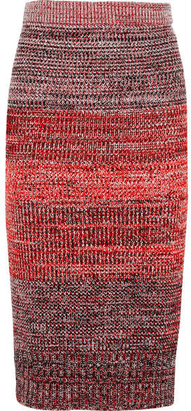 Burberry - Knitted Midi Skirt - Red