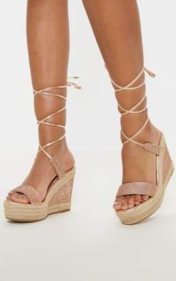 3b9a2cf0b19 PrettyLittleThing Rose Gold Diamante Ankle Tie High Wedge