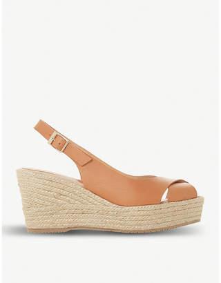 Dune Black Kyri leather slingback wedge sandals