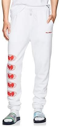 Wu Wear WU WEAR MEN'S LOGO COTTON FLEECE SWEATPANTS - WHITE SIZE XL