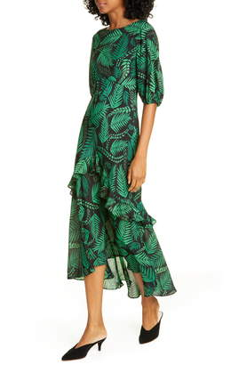 Rixo Cheryl Palm Leaf Print Silk Blend Midi Dress