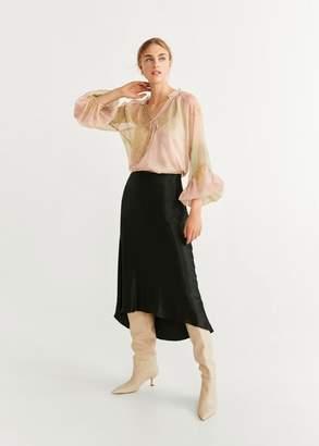 MANGO Printed chiffon blouse pastel pink - 4 - Women