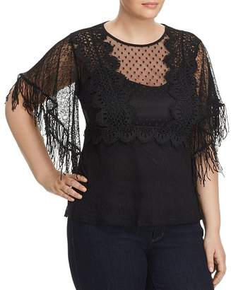 Lost Ink Plus Lost Ink Mixed Mesh Fringe-Sleeve Top
