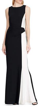 Lauren Ralph Lauren Two-tone Matte Jersey Gown
