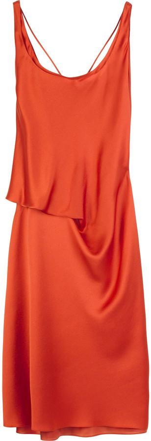 Alberta Ferretti Satin spaghetti strap dress