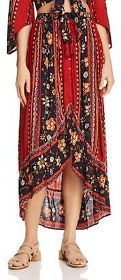 Band of Gypsies Pleated Floral-Print Skirt