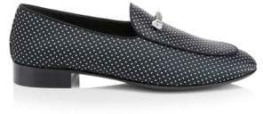 Giuseppe Zanotti Diamond Studded Zip Detail Leather Loafers
