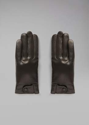 Giorgio Armani Gloves In Perforated Nappa Leather With Cashmere Lining