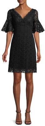Giambattista Valli Flare-Sleeve V-Neck Lace Dress