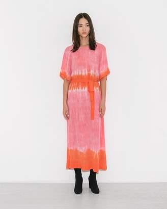 Raquel Allegra Grapefruit Tie-Dye Reversible Flutter Sleeve Dress