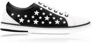 Jimmy Choo White CASH Low Top Trainer w/Black Matt Enamel Stars