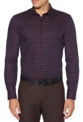 Perry Ellis Slim-Fit Check Button-Down Shirt