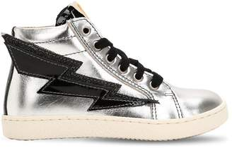 Ocra Lightning Bolt Leather High Top Sneakers