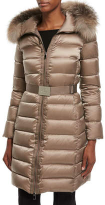 Moncler Tinuviel Shiny Quilted Puffer Coat w/Fur Hood