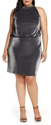 Vince Camuto Sleeveless Metallic Blouson Dress