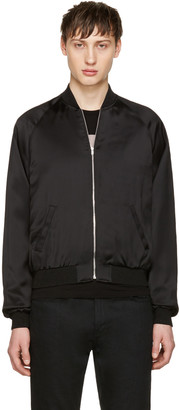 Saint Laurent Black Satin Snake Bomber Jacket $3,290 thestylecure.com