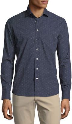 Neiman Marcus Mini Floral-Print Cotton Sport Shirt