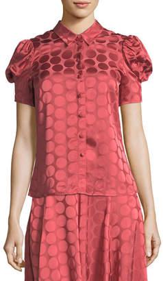 Co Button-Front Short-Sleeve Tonal Dot Satin Blouse