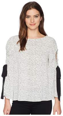 Vince Camuto Bell Sleeve Flower Ditsy Tie Cold Shoulder Blouse Women's Blouse