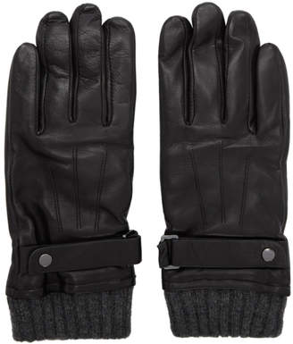 Mackage Black Leather Reeve Gloves