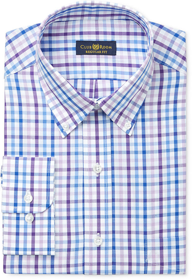 Club Room Estate Men's Classic-Fit Wrinkle Resistant Lavender Gingham Dress Shirt, Created for Macy's