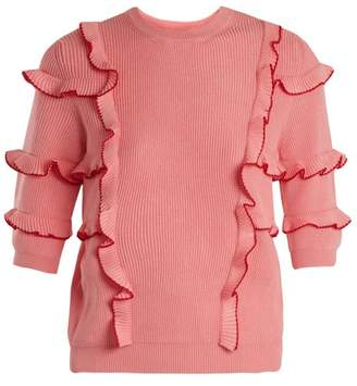 Valentino Ruffle Trimmed Ribbed Knit Cotton Sweater - Womens - Pink