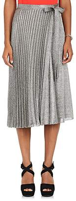 Barneys New York Women's Silk-Blend Lamé Wrap Midi-Skirt