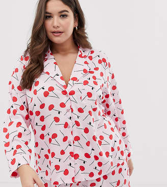Asos DESIGN Curve mix & match cherry pyjama shirt in 100% woven modal