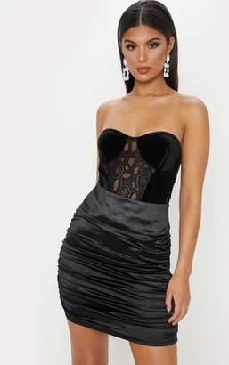 PrettyLittleThing Black Bandeau Velvet Lace Mix Bodysuit