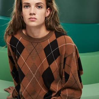 Lacoste Women's Fashion Show Argyle Wool Jacquard Poncho Sweater