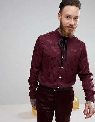 Asos DESIGN party regular fit polka dot shirt with pussybow