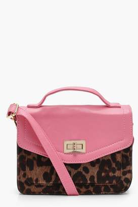 boohoo Yasmin Contrast PU And Leopard Cross Body Bag