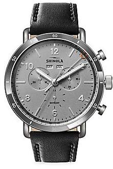 Shinola Canfield Sport Stainless Steel& Leather-Strap Chronograph Watch