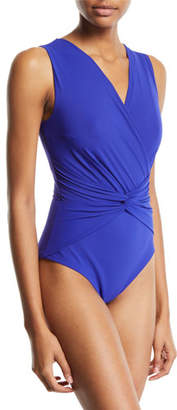 Chiara Boni Filly Knot-Front One-Piece Swimsuit