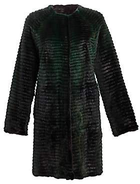 Julia & Stella Women's Reversible Corduroy& Quilted Mink Fur Coat