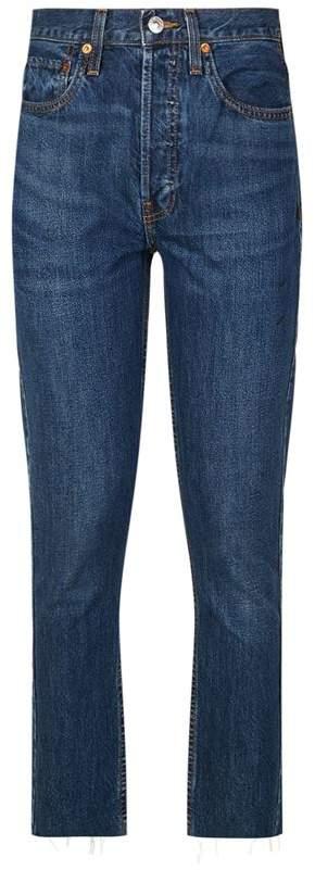 High-Rise Raw Hem Jeans