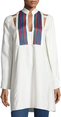 Zeus And Dione Long-Sleeve Textured Silk Tunic, Ivory