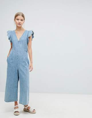 Max & Co. Max&Co Cropped Denim Jumpsuit