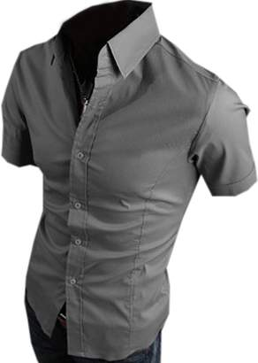 Partiss Mens Short Sleeve Dress Shirts