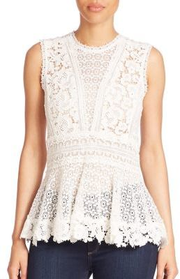 Rebecca Taylor Sleeveless Lace Peplum Top $375 thestylecure.com